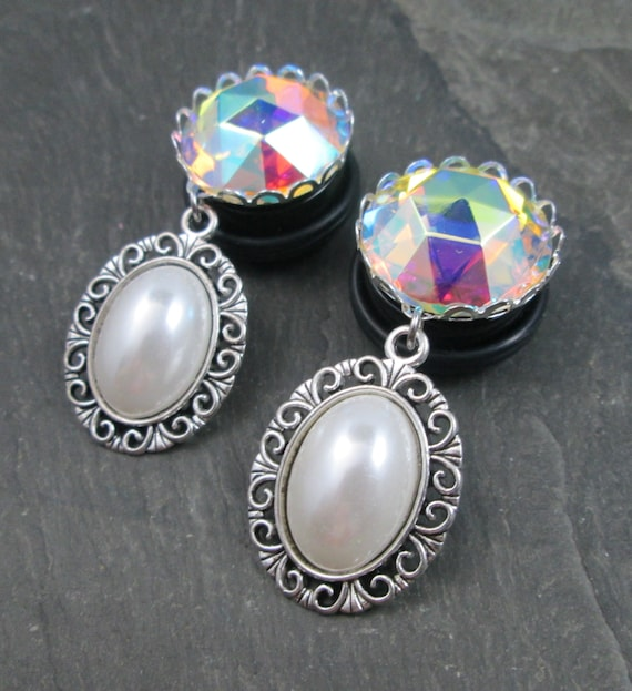 3 4 Plugs >> Dangle Plugs 3 4 19mm Wedding Gauges Rainbow Jewelry Gauged Plug Earrings Bridal Accessories Rainbow And Faux Pearl