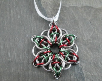 Celtic Star Ornament - Holiday Ornament - Holiday Star - Yule Decoration - Christmas Ornament - Star with Ribbon - Chainmail Star
