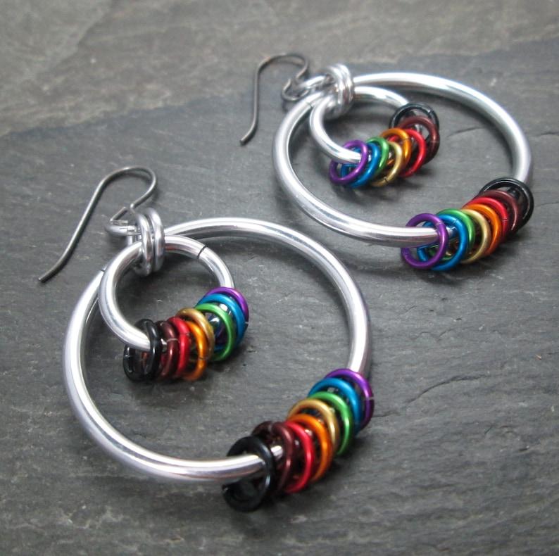 Lightweight Aluminum Philly Pride Jewelry Rainbow Hoop Earrings Hypoallergenic Niobium Earwires