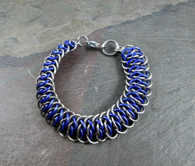 Silver and Purple Viperscale Weave Stainless Steel and Aluminum Chainmail Jewelry Chainmaille Bracelet