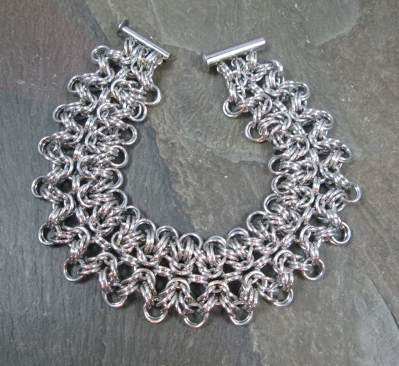 Chainmail Jewelry Chainmail Bracelet Bracelet and Earring Celtic Styled Chainmaille Set in Copper and Aluminum
