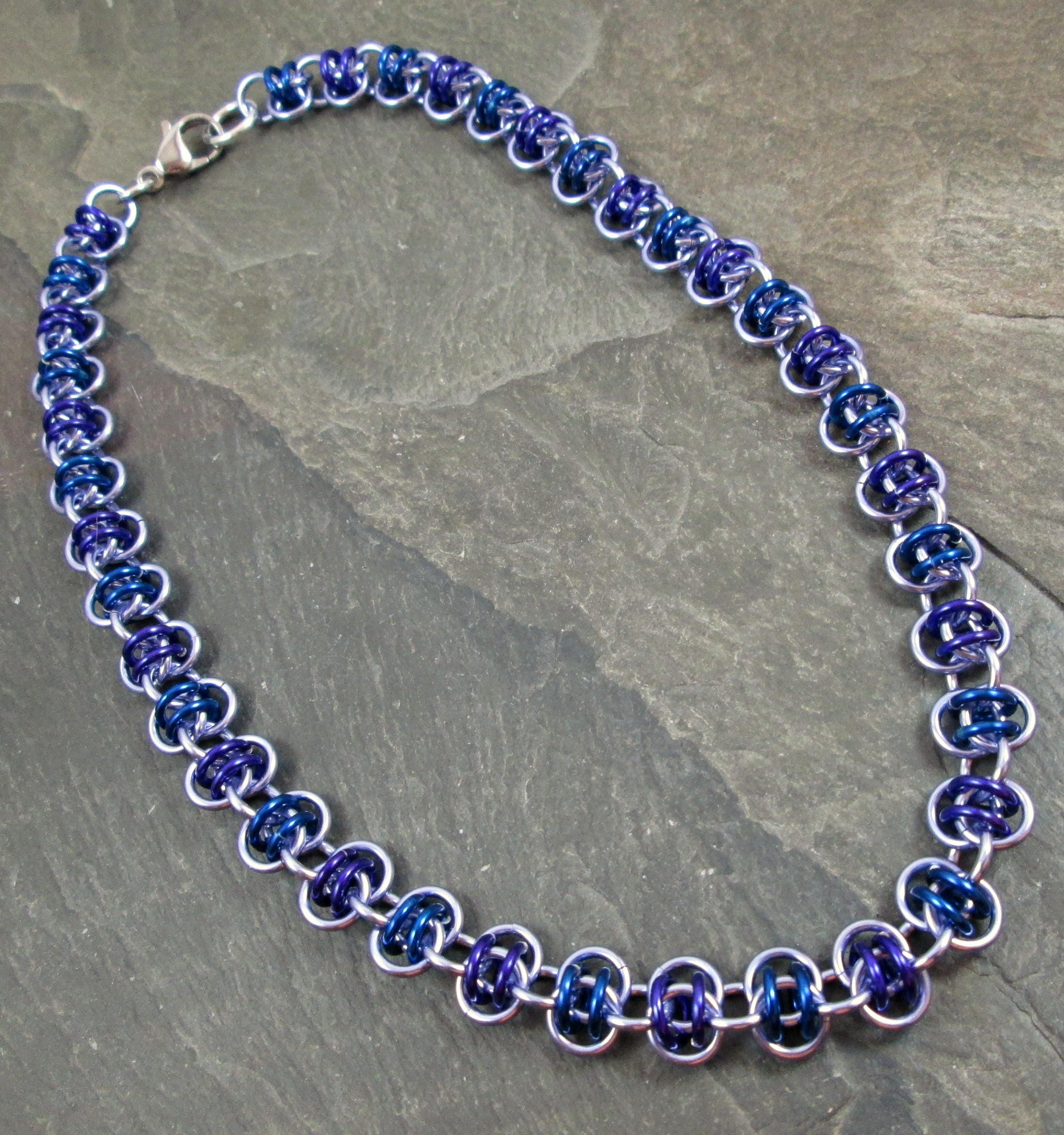 Teal Blue Beaded Barrel Chainmaille Necklace