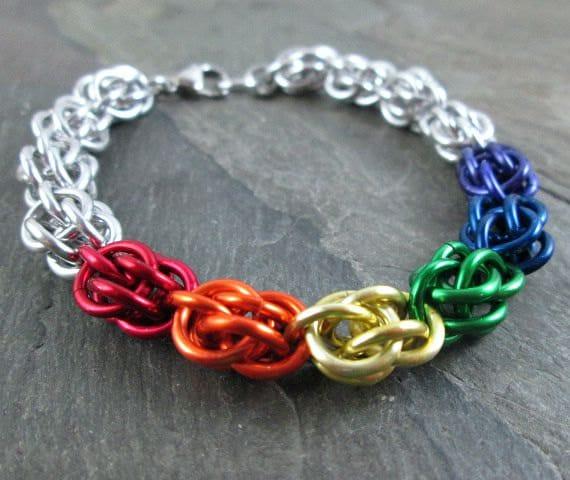 Pride Chainmaille Sweetpea Bracelet LGBTQ