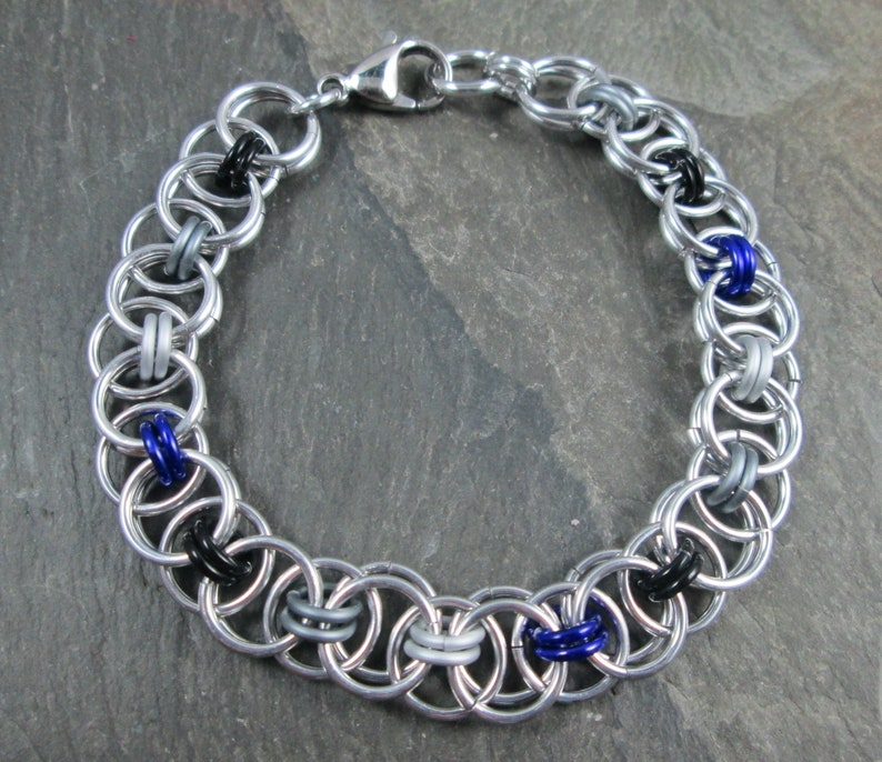 Asexual Pride Jewelry Black Grey White and Purple Ace Pride Helm Weave Chainmail Chainmaille Bracelet