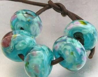 round Turquoisesilver Handmade Lampwork Glass Bead set 11mm
