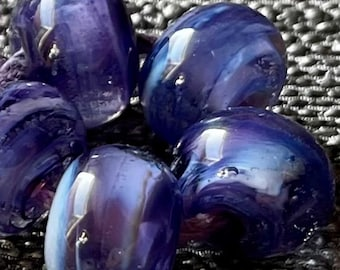Blueberry Swirl Lampwork Spacer Handmade Glass Beads Purple Lavender  and clear Choice 2 4 5 or 6 bead set