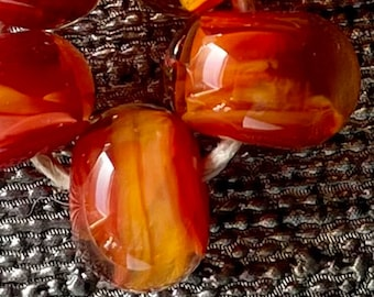 Solar Flare Lampwork Spacer Handmade Glass Beads Flaming Red Orange and clear Choice 2 4 5 or 6 bead set