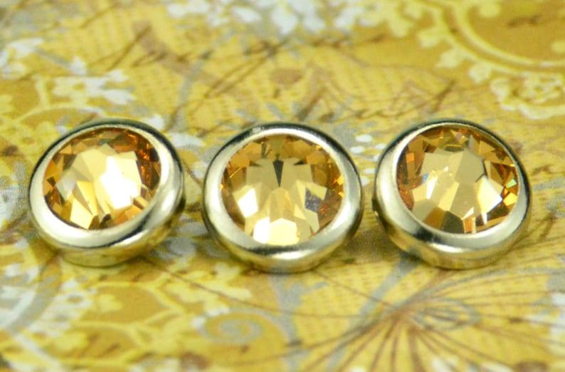 10 Light Colorado Topaz Crystal Hair Snaps  Round Silver Rim image 0