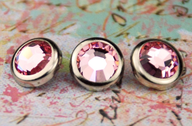 10 Light Rose Crystal Hair Snaps  Round Silver Rim Edition  image 0