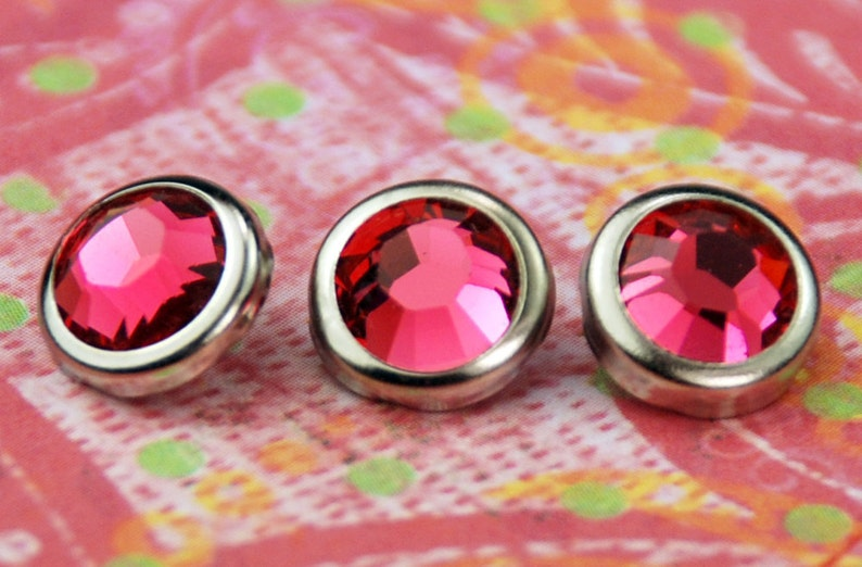 10 Indian Pink Crystal Hair Snaps  Round Silver Rim Edition image 0