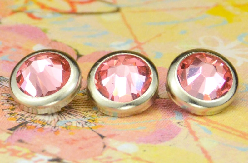 10 Rose Peach Crystal Hair Snaps  Round Silver Rim Edition  image 0