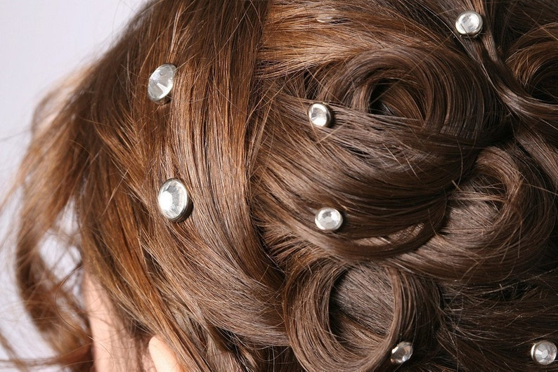 10 Crystal Hair Snaps  Round Silver Rim Edition  Made with image 0