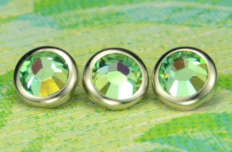 10 Aquamarine Lemon Crystal Hair Snaps  Round Silver Rim image 0