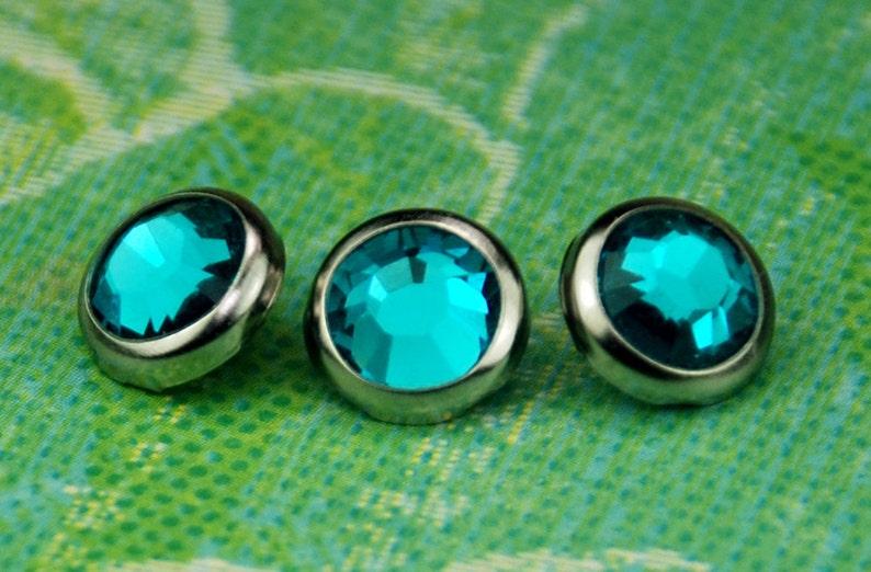 10 Blue Zircon Crystal Hair Snaps  Round Silver Rim Edition image 0