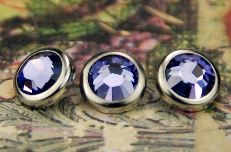 10 Tanzanite Crystal Hair Snaps  Round Silver Rim Edition  image 0