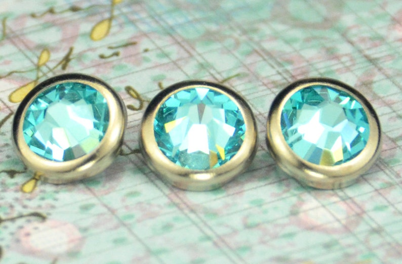 10 Light Turquoise Crystal Hair Snaps  Round Silver Rim image 0