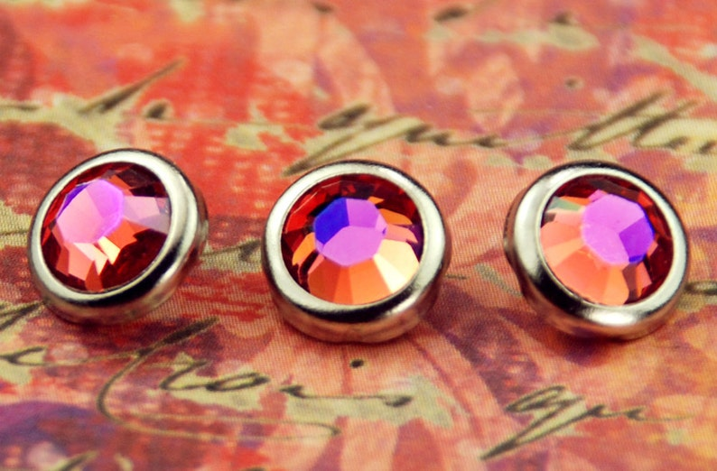 10 Padparadscha Glacier Blue Crystal Hair Snaps  Round Silver image 0