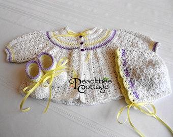 Crochet Pattern - Abigail Baby Sweater Set Pattern - Crochet Baby Sweater Pattern - Crochet Baby Hat Pattern - Baby Booties Pattern