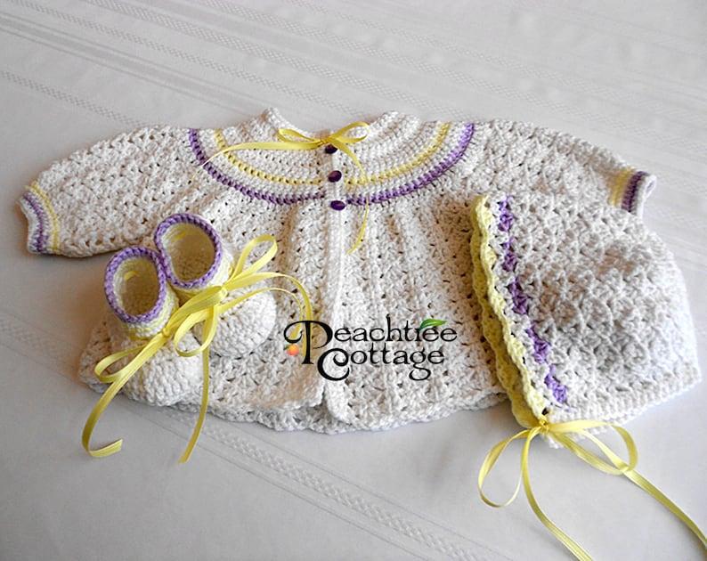 Crochet Pattern  Abigail Baby Sweater Set Pattern  Crochet image 0