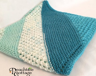 Knit Baby Blanket - Knit Baby Afghan - Babyghan Afghan - Knit Blanket - Baby Shower Gift - Ready To Ship