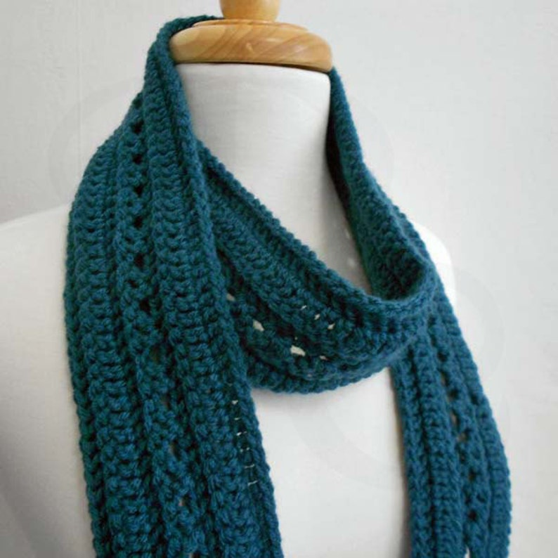 Crochet Scarf  Winter Scarf  Peacock Blue Scarf  Ready to image 0