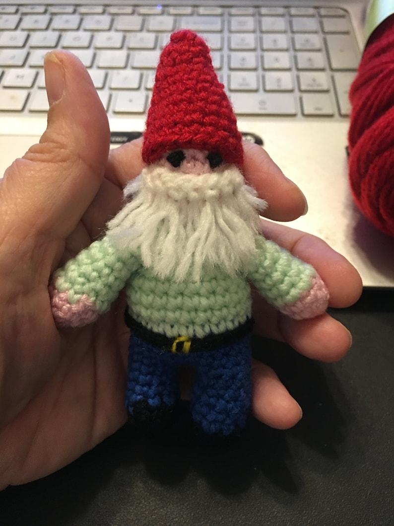 Pocket Gnome Crochet Pattern  Amigurumi Gnome  Miniature image 0