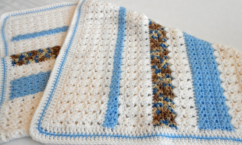 Crocheted Baby Blanket  Blue and White Crocheted Baby Afghan image 0