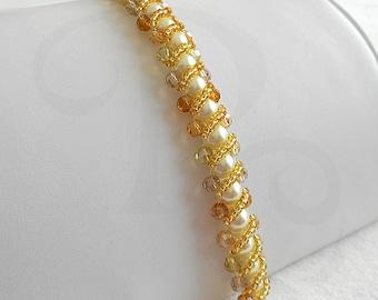 Beaded Bracelet - Pearl Bracelet - Golden Amber Beads - Ready to Ship