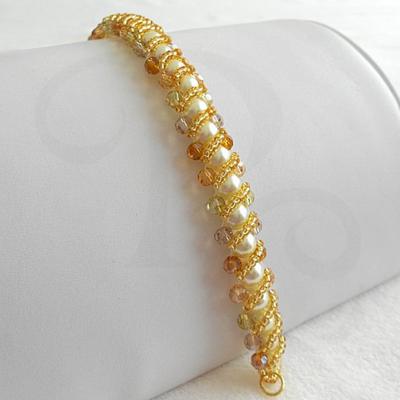Beaded Bracelet  Pearl Bracelet  Golden Amber Beads  Ready image 0