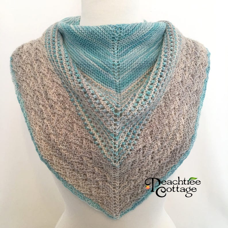 Hand Knit Lace Scarf or Small Shawl in Blue and Gray  Ready image 0
