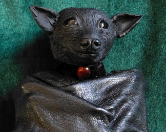 CUSTOM Beautiful Hand-sculpted Gothic OOAK Hanging Baby Bat (Fruit Bat, Flying Fox) with Leather Wings by Studio777
