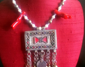 Maya's Dream--Tribal Fusion Bellydance Pearl, Coral, Coin Choker Necklace Kuchi