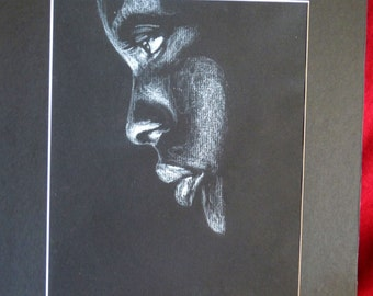 Original Signed Matted Drawing: Beautiful Black Woman in Profile by Studio777