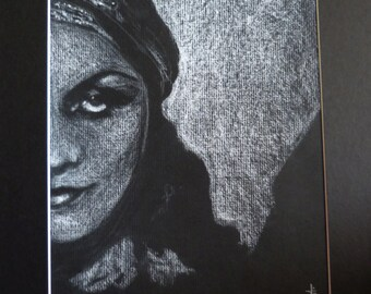 Original Signed Matted Drawing: Pola Negri by Studio777