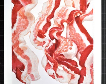 BACON COMPOSITION No.5 - large archival print of original oil pastel of beautiful bacon