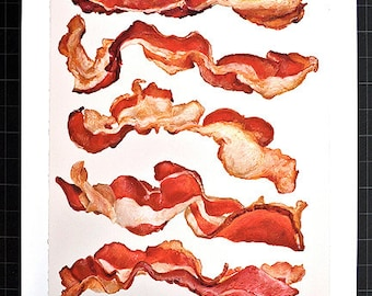 BACON COMPOSITION No.2 - large archival print of original oil pastel of Cooked Bacon