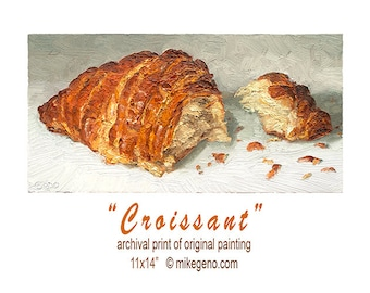 CROISSANT PAINTING -  archival matted food art print by Mike Geno