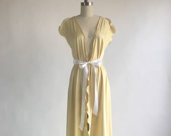 1980s Soft Yellow Flutter Trim Robe by Georgette Trabolsi for Saks Fifth Ave