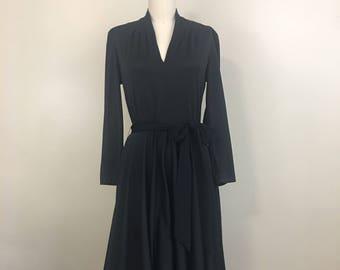 1970s Black Disco Twirl Dress - Medium