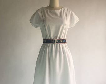 Vintage Lanz Originals White Linen Dress