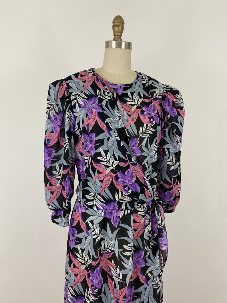 1980s Pink And Purple Floral Dress By Charlee Allison for Eljay \u2022 Size 1112