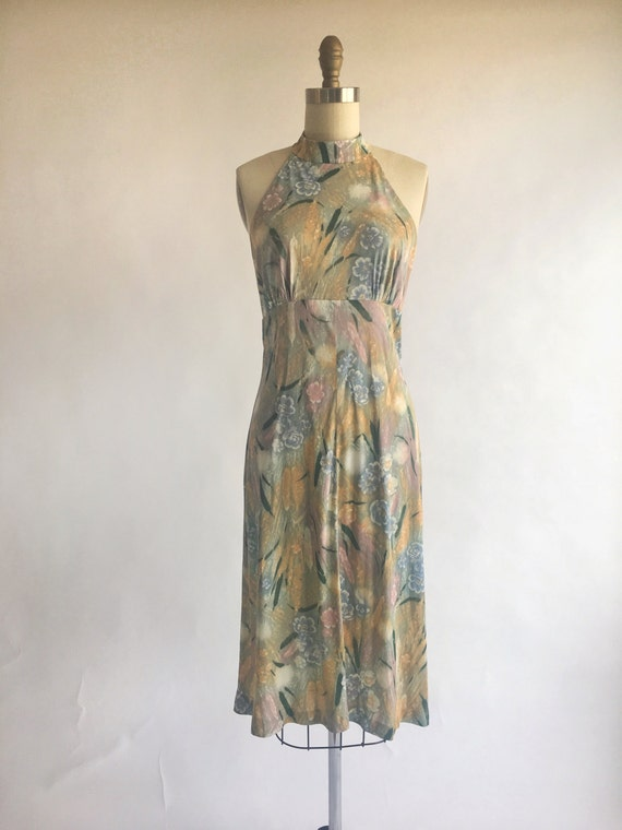 1950s 1960s Teena Paige Pastel Floral Halter Dress