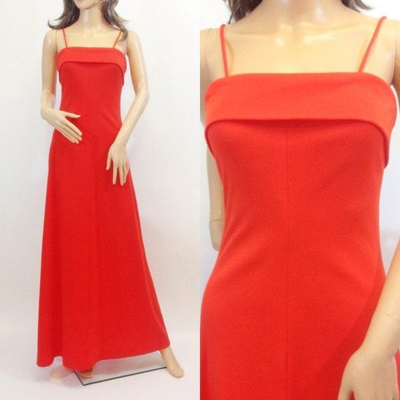 1970s Red Spaghetti Strap Maxi Sundress • Size Sma