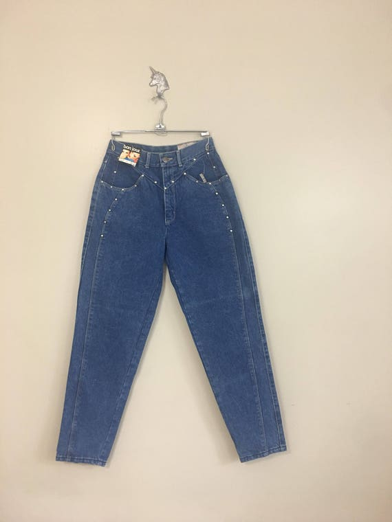 1980s Bon Jour Tapered Studded High Rise Jeans 28""
