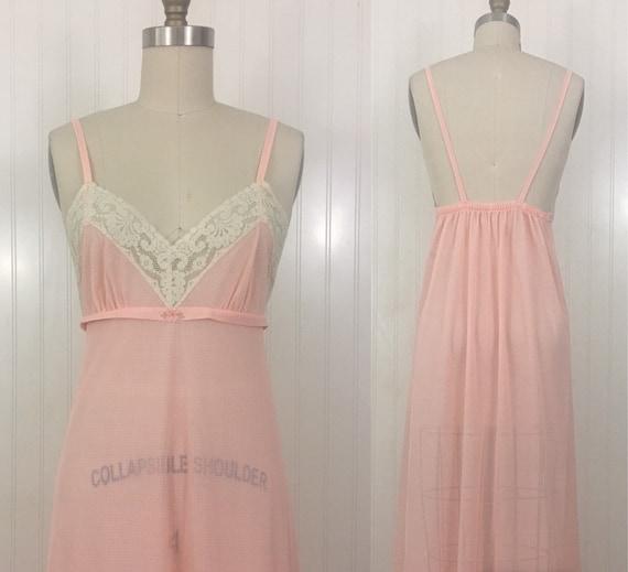 1970s Peach Low Back Nylon Nightgown by Henson Kic