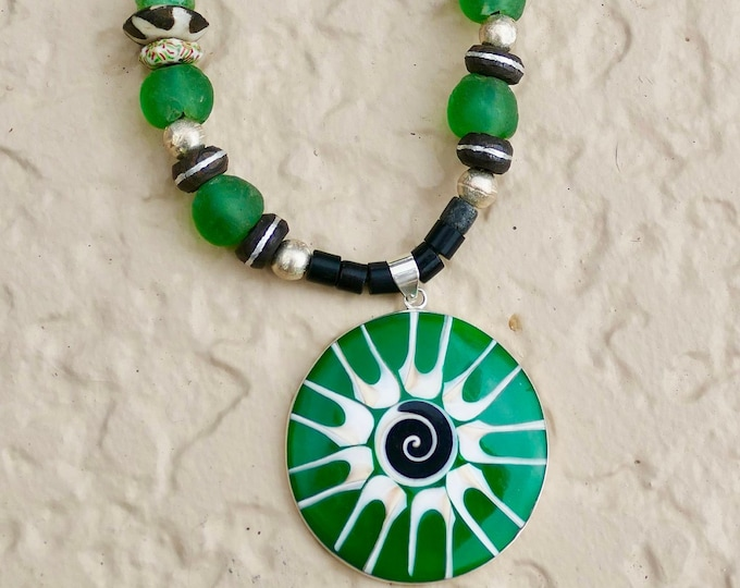 Bright Green Glass Black White Shell Pendant Boho Necklace Heishi Silver and African Wood Spacers Adjustable Leather Cord White Heart Beads