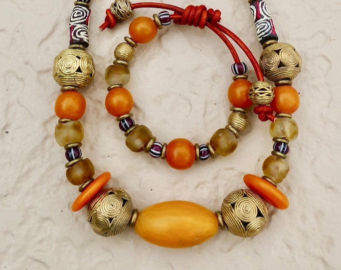 Boho Hippie Chic Chunky African Honey Amber Recycled Glass Brass Necklace Bracelet Bone Disc Trade Bead Original Adjustable Leather Cord