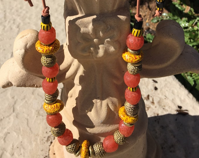 Coral and Yellow Funky Boho Necklace Adjustable Peach Leather Cord Recycled Glass African Trade Bead Brass Spacers Heishi Recycled Glass