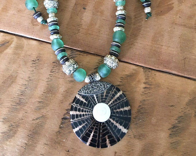 Boho Hippie Recycled African Glass Silver Bali Style Bead Grass Green Wood Spacers Large Shell Pendant Fair Trade Adjustable Leather Cord