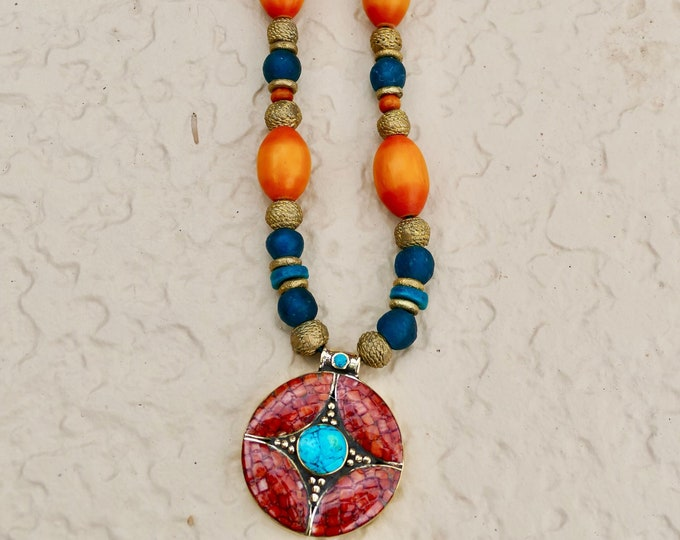 Africa meets Tibet! Brass Turquoise Coral Pendant Teal Glass Beads Brass Spacer and Honey Amber Necklace Adjustable Teal Leather Cord